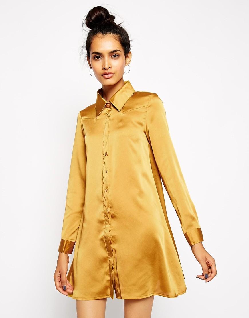 платье-рубашка атласная желтая рукав длинный