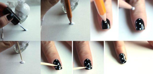 нанесение кругов карандашом зубочисткой
