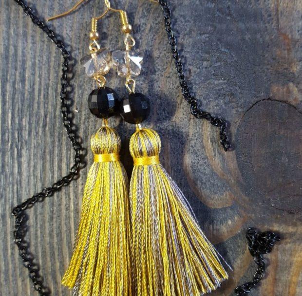 висячие сережки желтые с черным бахрома с бусинками