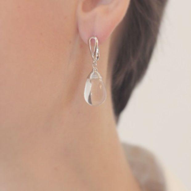 серьги-капли с прозрачным камнем