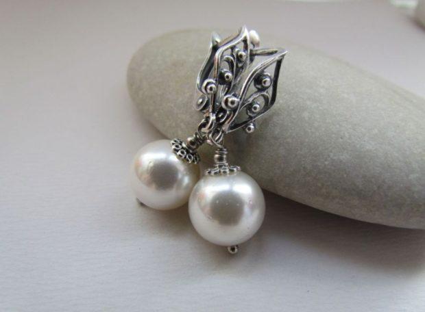 сережки с жемчугом из серебра