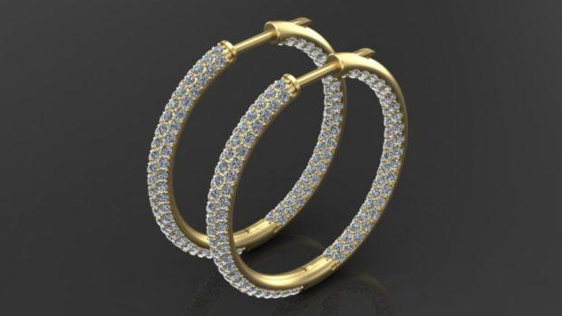 серьги в виде колец золотые с россыпью мелких камушек