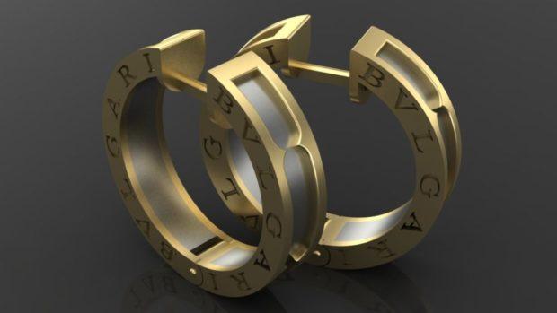 серьги в виде колец золотые с буквами