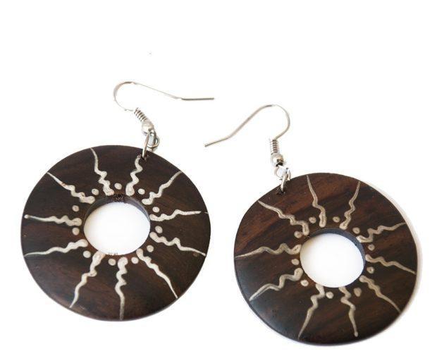 сережки этно-стиль плоские круги из дерева