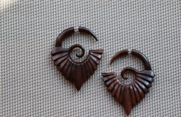 сережки этно-стиль оригинальная форма из дерева