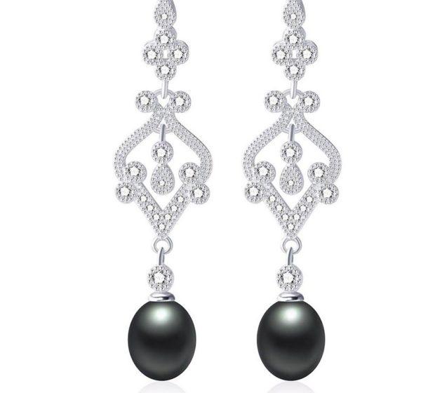 Жемчужные серьги черные серебро с мелкими камешками