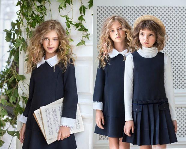 Школьная мода 2019-2020: платье черное с белым воротником сарафан темно-синий под белую водолазку