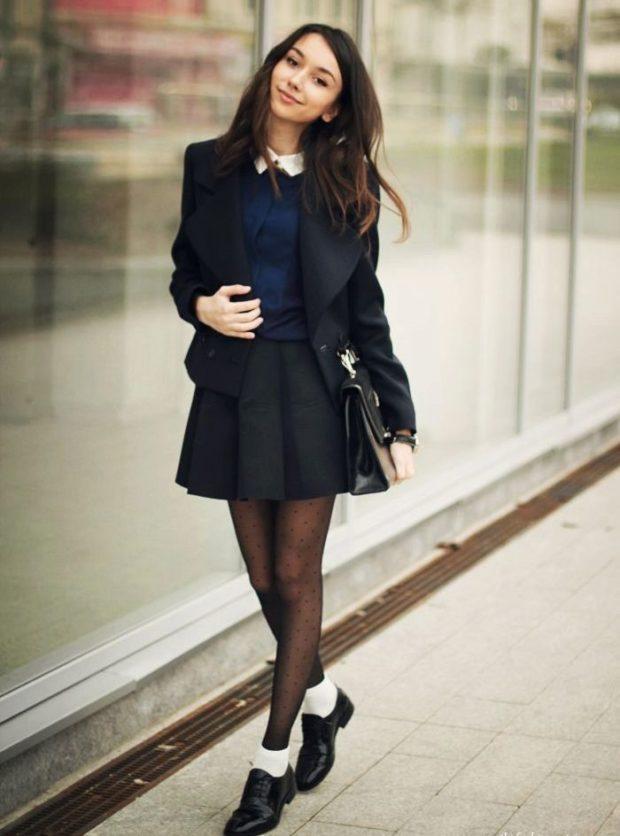 черный жакет юбка черная под блузу синюю