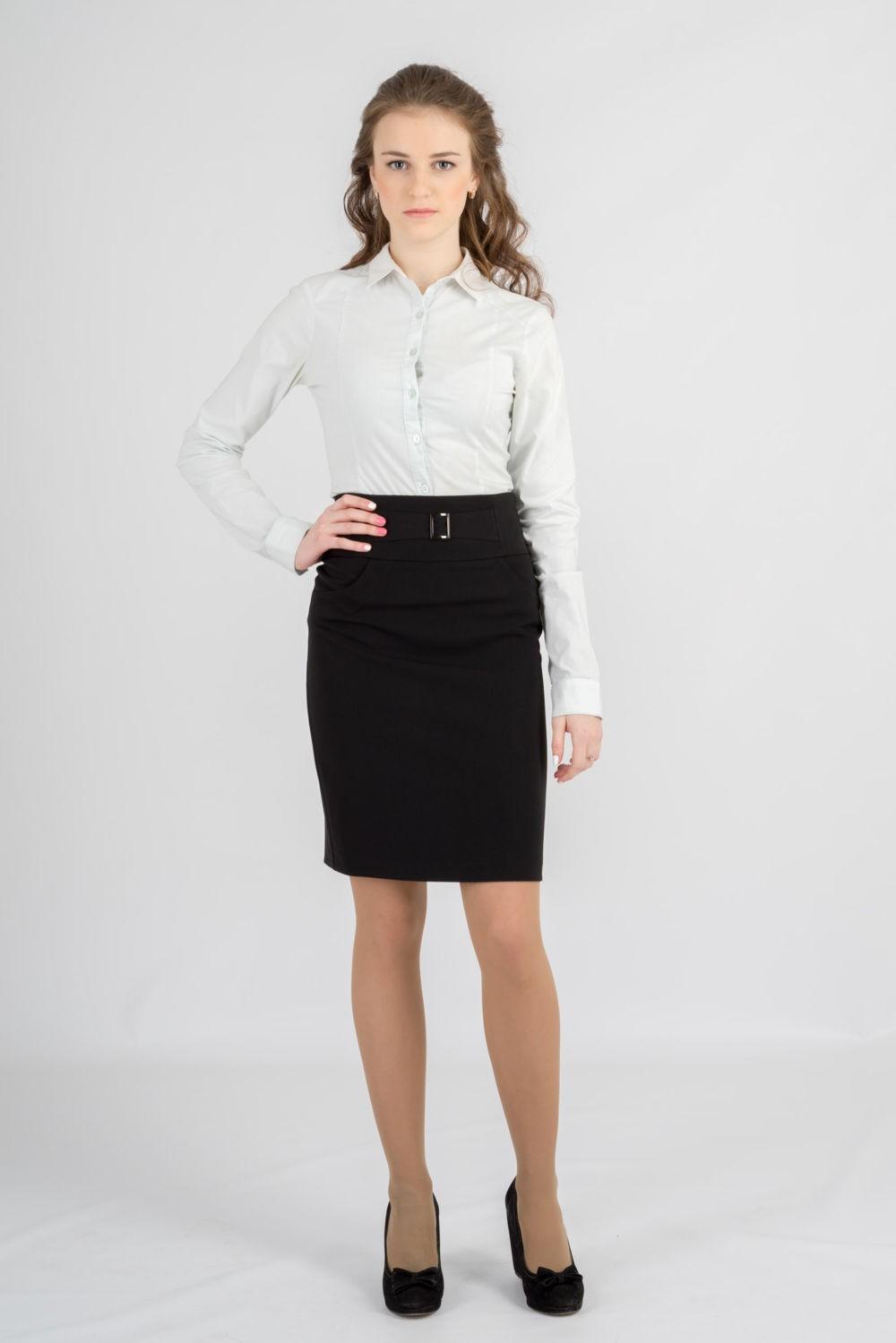 юбка карандаш черная блуза белая