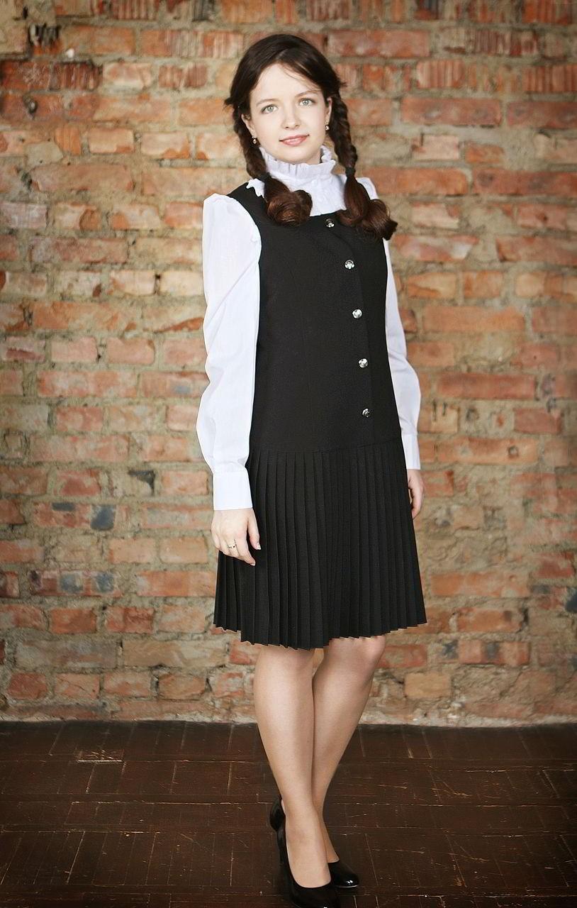 черный сарафан юбка плиссе под рубашку