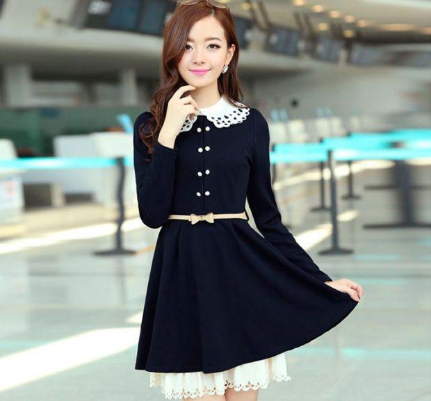платье синее с поясом с белым воротником и подъюбником