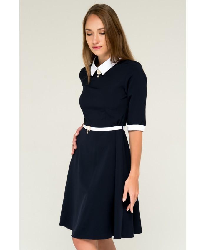 платье синее а-силуэт рукав 3/4 белый воротник