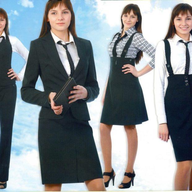 Школьная мода 2019-2020: костюм жакет и юбка черные сарафан черный с высокой юбкой
