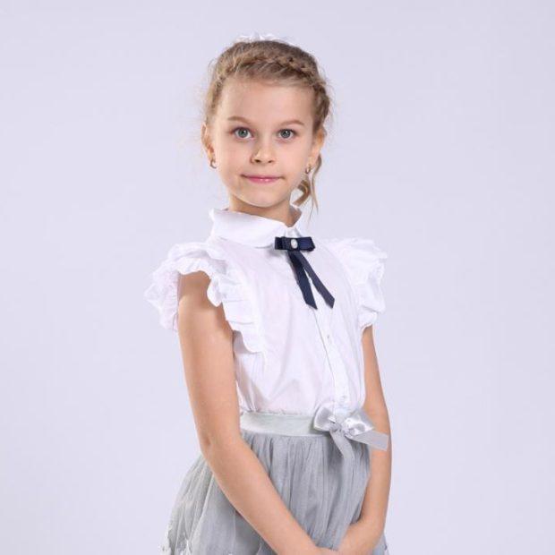 блузка белая рукав короткий с оборкой с бантиком