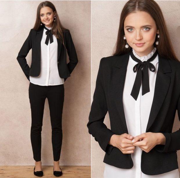Школьная мода 2019-2020: костюм черный жакет брюки блуза белая с тесьмой черной