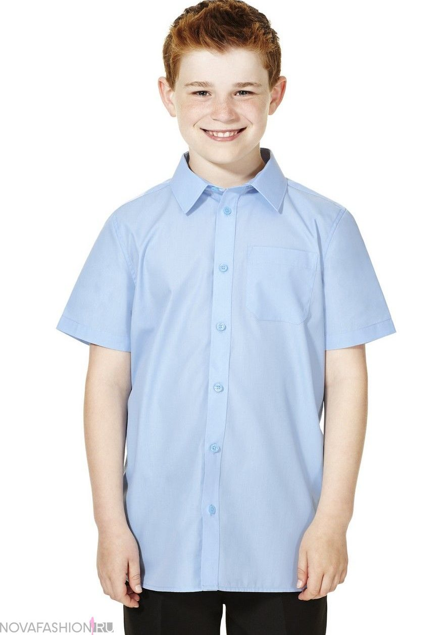 голубая рубашка рукав короткий