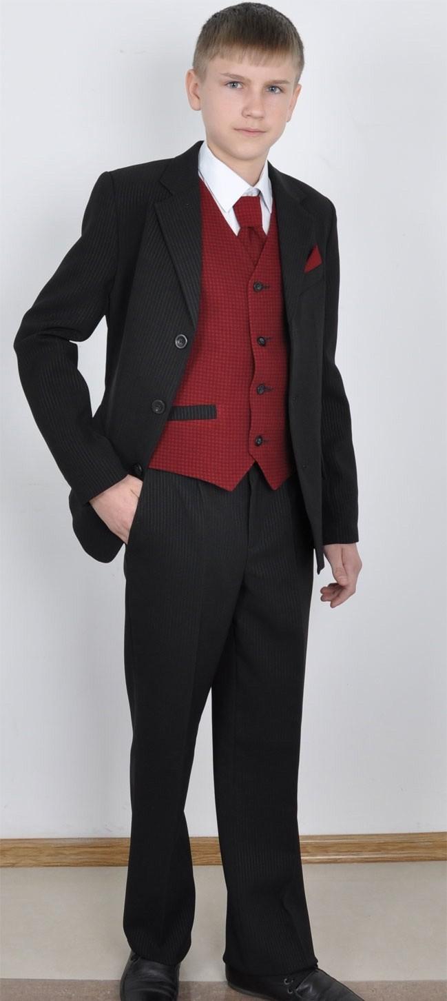 костюм брючный пиджак брюки в полоску жилетка красная