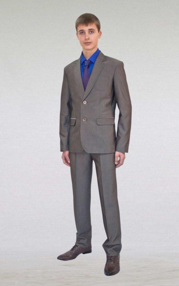 костюм серый брюки пиджак под синюю рубашку