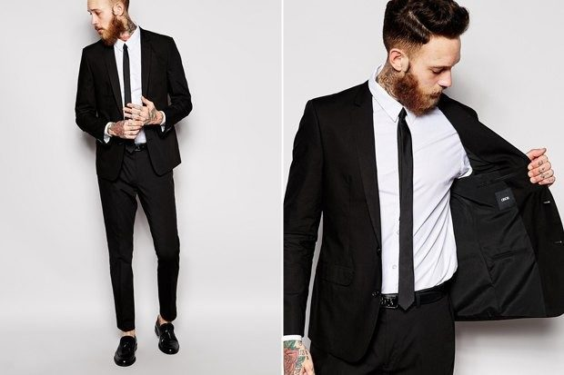 черный костюм пиджак и брюки узкие