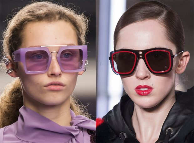 модные очки солнцезащитные 2018 2019 женские: массивные фиолетовые красные с черным квадратные