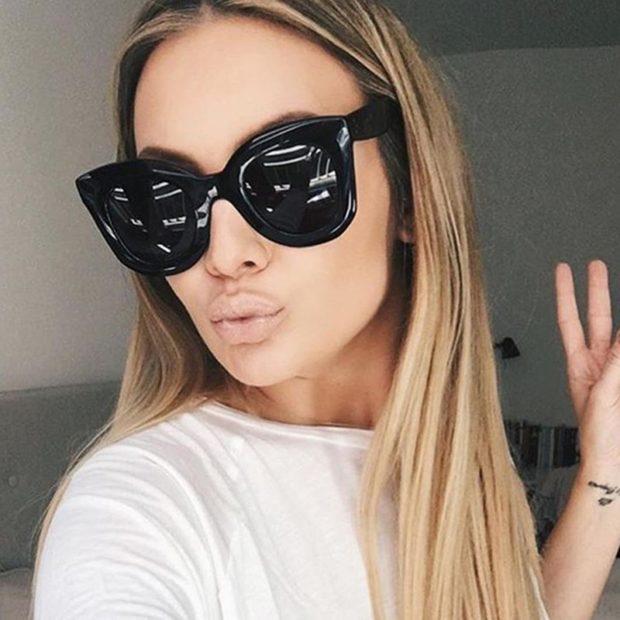 модные очки солнцезащитные 2018 2019 женские: черные массивные пластмасс лиса