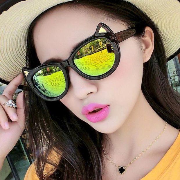 модные очки солнцезащитные 2018 2019 женские: зеркальные зеленые форма лисы