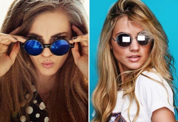 модные женские солнцезащитные очки 2020: круглые синие черные