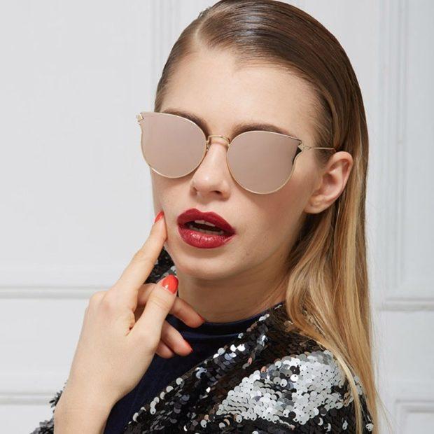 солнцезащитные очки 2018 2019 женские: кошачий глаз матовые золото