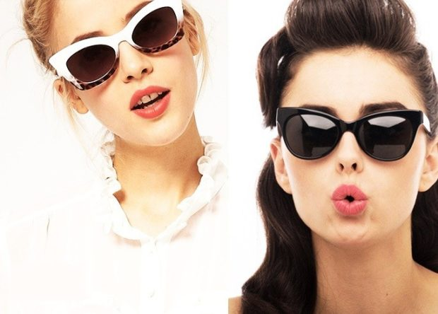 солнцезащитные очки 2018 2019 женские: кошачий глаз белые черные пластмассовые