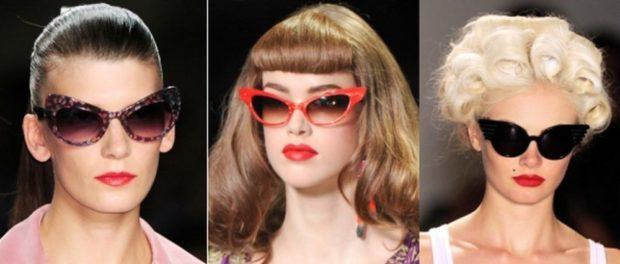 солнцезащитные очки 2018 2019 женские: кошачий глаз коричневые красные черные