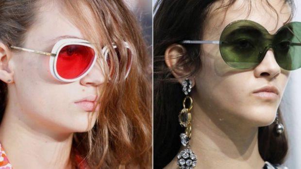 солнечные очки 2018 2019 женские: оверсайз красные зеленые массивные