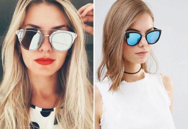 модные очки 2018 2019 женские солнцезащитные: серебро синие форма лиса