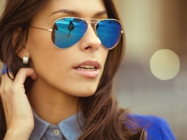 солнечные очки 2018 2019 женские: авиаторы зеркальные синие оправа металл