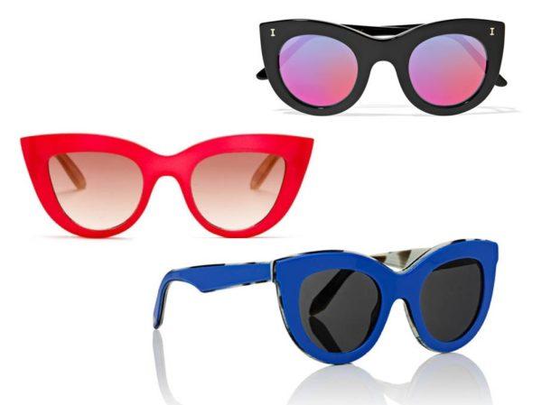 модные солнечные очки 2018 2019 женские:  форма лиса красные синие черные