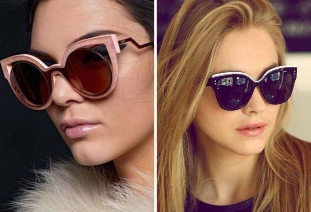 модные солнцезащитные очки 2018 2019 женские: из пластмасса бежевые черные с приподнятым углом