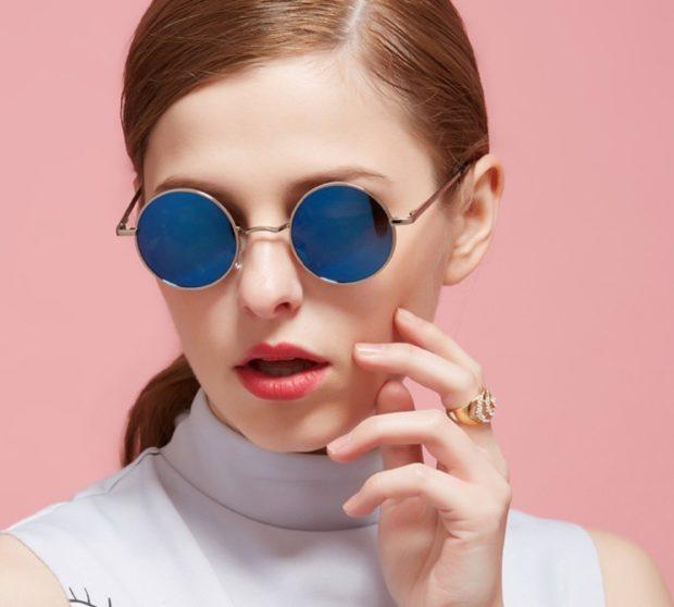 модные солнечные очки 2018 2019 женские: ленноны синие оправа коричневая