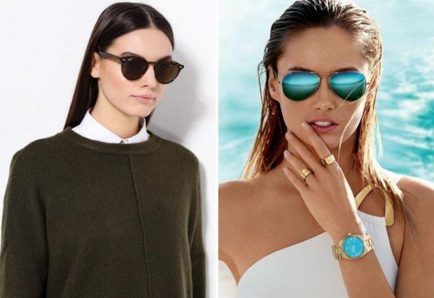 модные солнцезащитные очки 2018 2019 женские: черные синие зеркальные