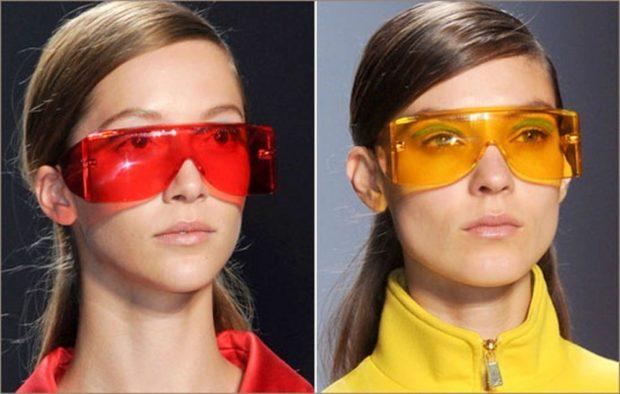 модные солнечные очки 2018 2019 женские: нестандартные линзы красные оранжевые