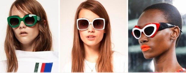солнцезащитные очки 2018 2019 женские фото: нестандартные линзы и оправы зеленые красные с белым и черным