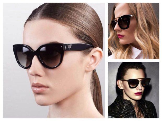 модные солнцезащитные очки 2018 2019 женские: массивные черные угол приподнят