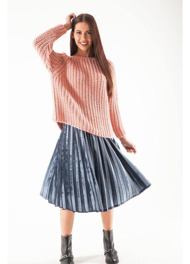 бархатная юбка плиссе с чем носить: серая
