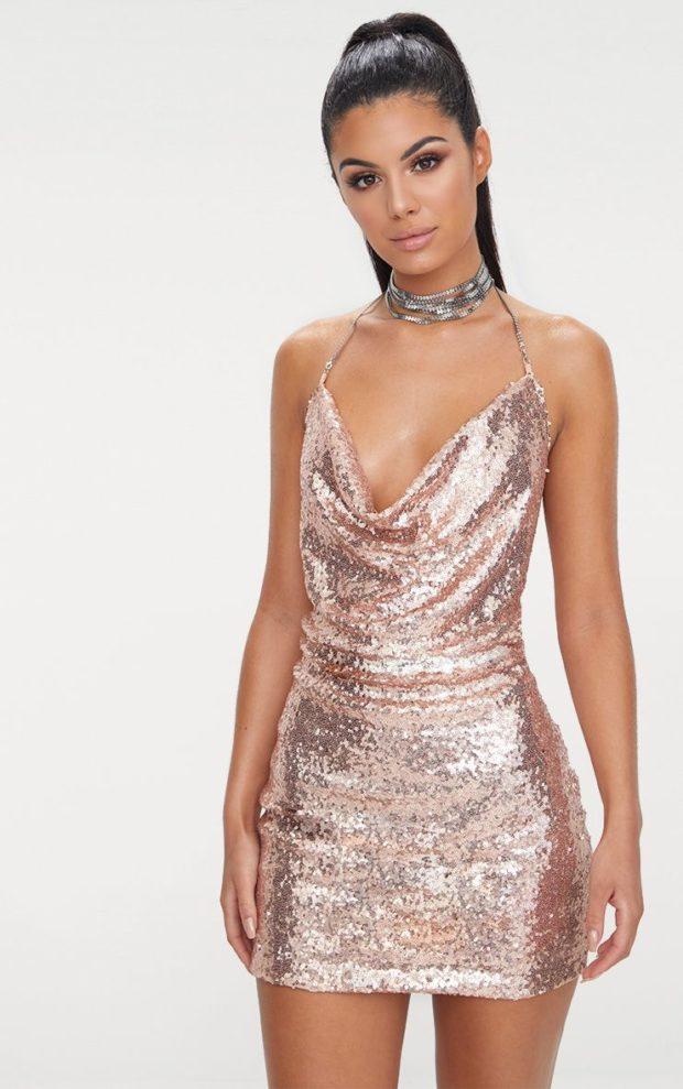 платья на Новый год: блестящее