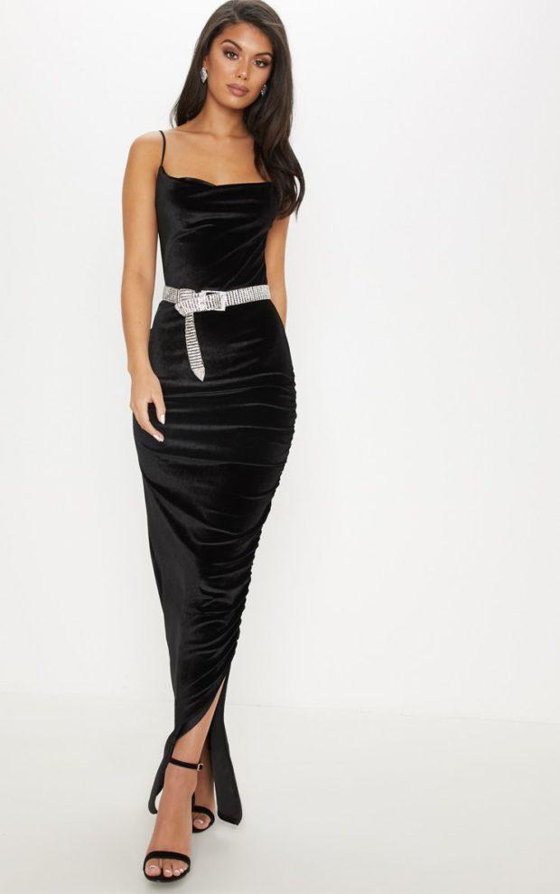 платья на Новый год: черное с поясом
