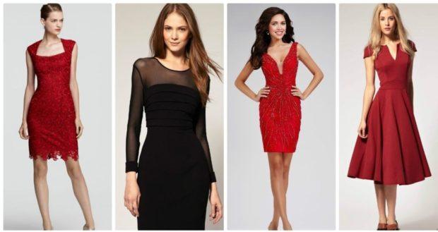 вечерние платья на Новый год 2020: черное красное с кружевом бордовое миди юбка солнце
