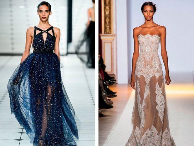 вечернее платье на новый год 2020: длинные синее шифоновая юбка без рукава