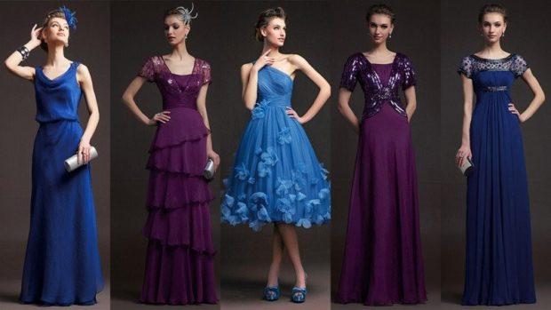вечернее платье на новый год 2020: синее макси без рукава