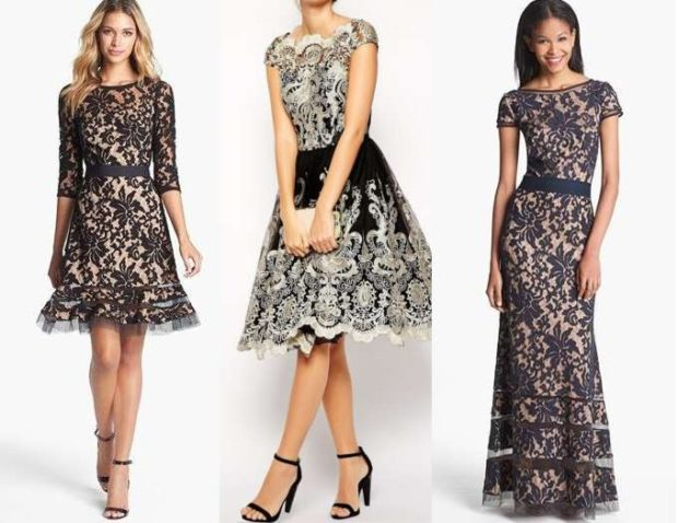 вечернее платье на новый год 2020: кружевные по колено юбка солнце в пол