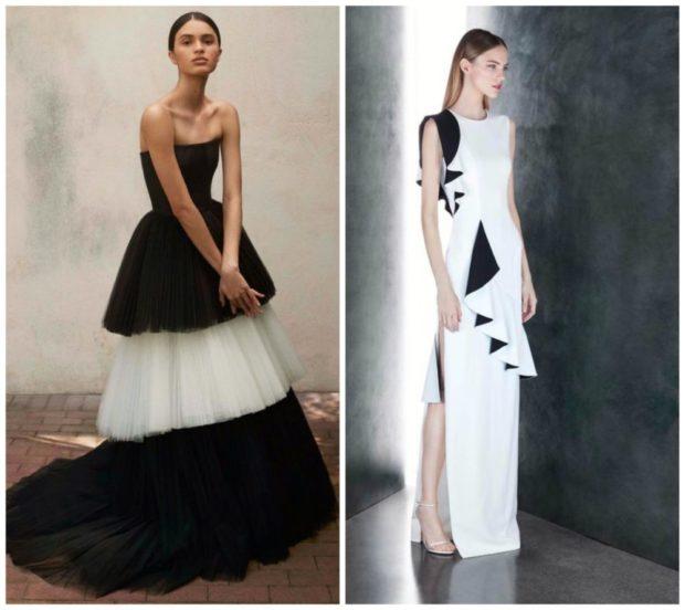 вечернее платье на новый год 2020: черно-белое бюстье
