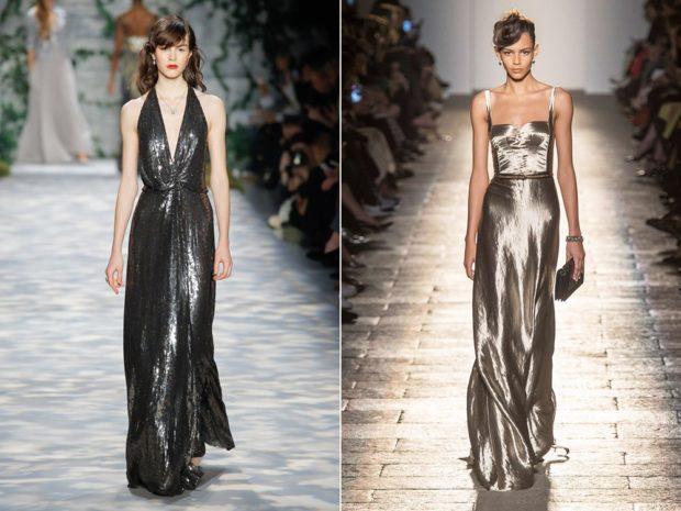 вечерние платья на Новый год 2020: макси плечи открыты металлика