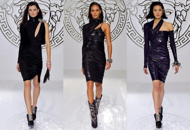 черное платье по колено с одним рукавом